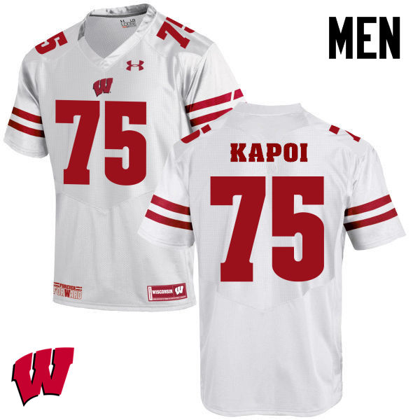 Men Winsconsin Badgers #75 Micah Kapoi College Football Jerseys-White